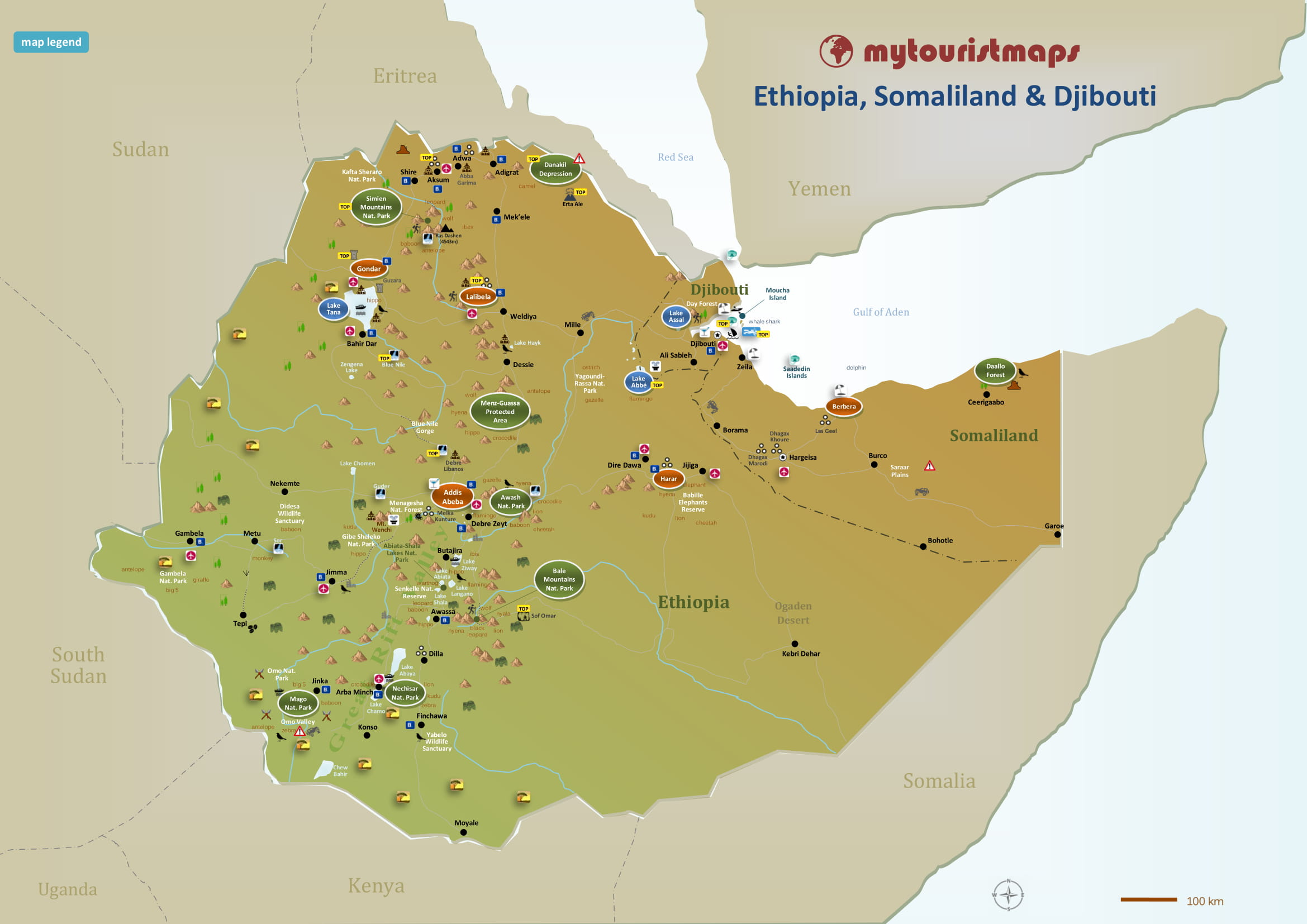 Ethiopain Tourisn Map
